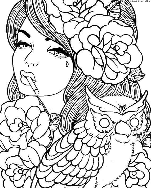 Раскраска Девушка в розах и сова Скачать девушка, сова, розы.  Распечатать ,девушка,