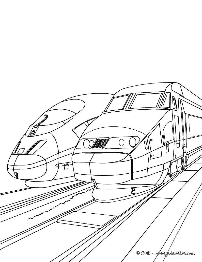 Раскраска Два поезда Скачать поезда, рельсы, транспорт.  Распечатать ,поезд,