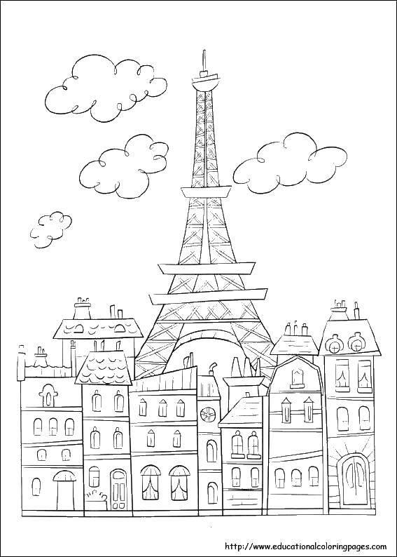 Раскраска Эйфелева башня в париже. Скачать париж, Эйфелева башня, франция.  Распечатать ,раскраски,