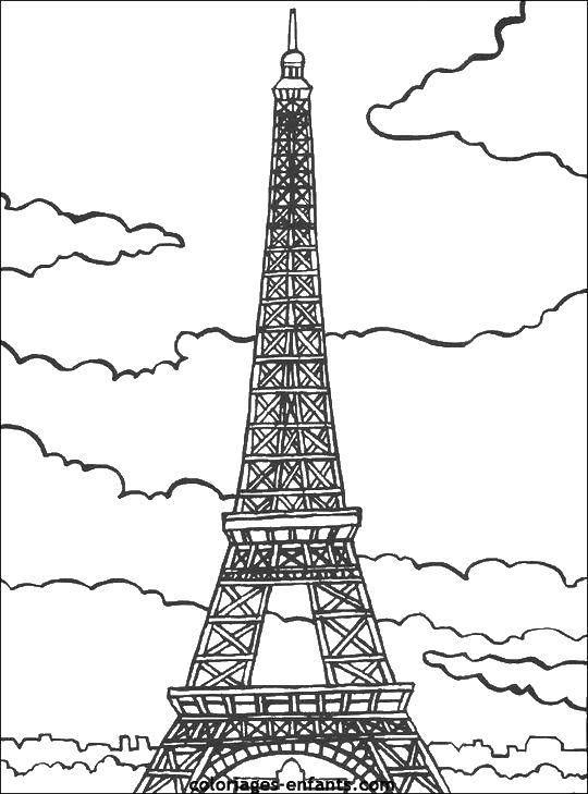 Раскраска Эйфелева башня.. Скачать Эйфелева башня, париж, Франция.  Распечатать ,раскраски,