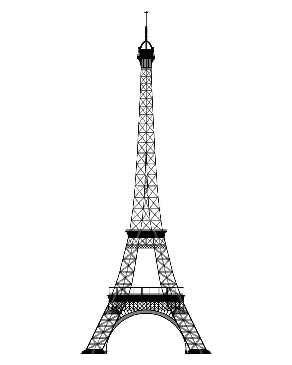 Раскраска Эйфелева башня Скачать ,достопримечательности, Париж, Эйфелева башня,.  Распечатать