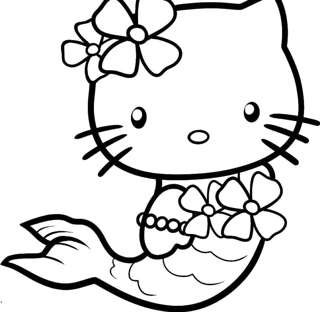 Раскраска Хэллоу китти русалочка. Скачать русалочка, Хэллоу Китти, цветы.  Распечатать ,Хэллоу Китти,