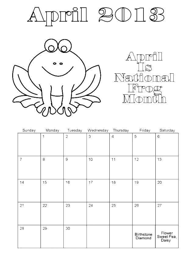 Раскраска Календарь Скачать .  Распечатать