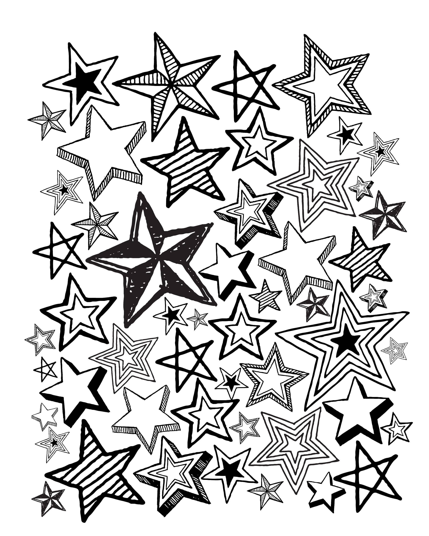 Раскраска Красивые разные звезды Скачать Звезды, ночь.  Распечатать ,звезды,