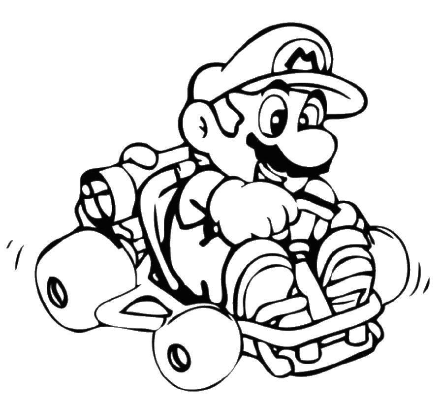Раскраска Марио на машинке Скачать марио, игры, супер марио.  Распечатать ,марио,