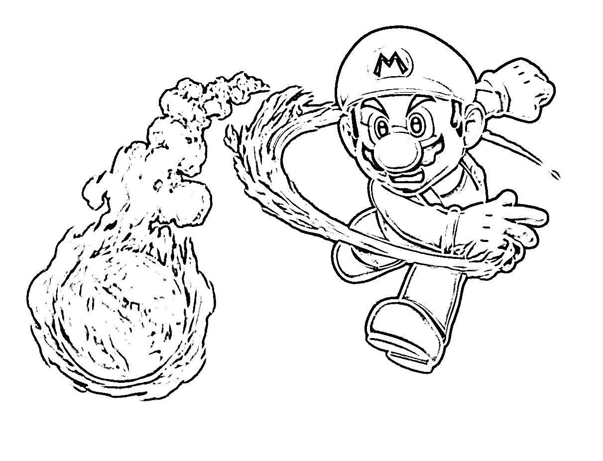 Раскраска Марио нападает. Скачать игры, Марио, супер Марио.  Распечатать ,Персонаж из игры,