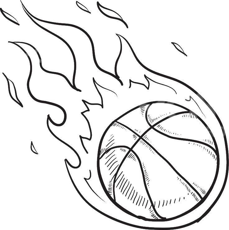 Раскраска Огненный баскетбольный мяч Скачать баскетбол, мяч.  Распечатать ,баскетбол,