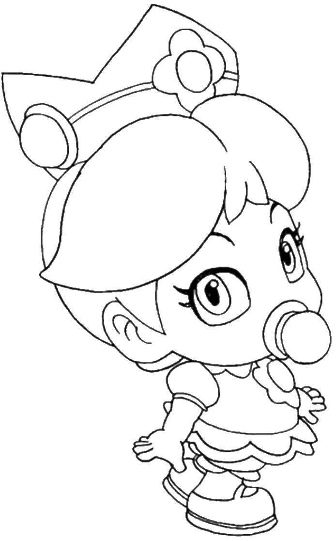 Раскраска Принцесса малышка. Скачать принцессы.  Распечатать ,принцесса,