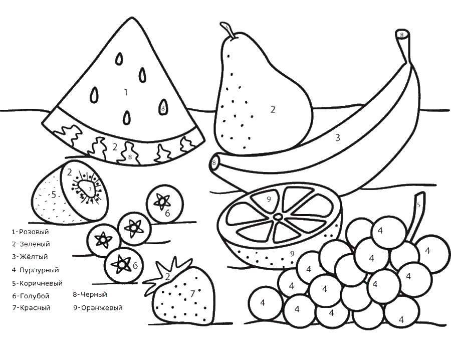 Раскраска Раскрась фрукты и ягоды по номерам Скачать по номерам, фрукты, ягоды.  Распечатать ,по номерам,