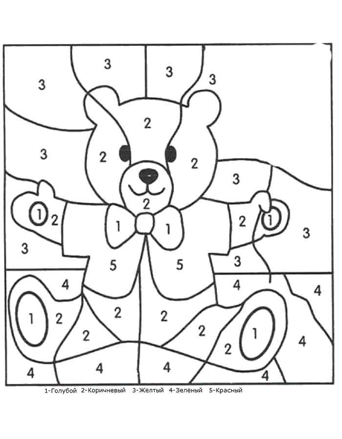 Раскраска Раскрась по цифрам мишутку Скачать Образец, цифры.  Распечатать ,по номерам,