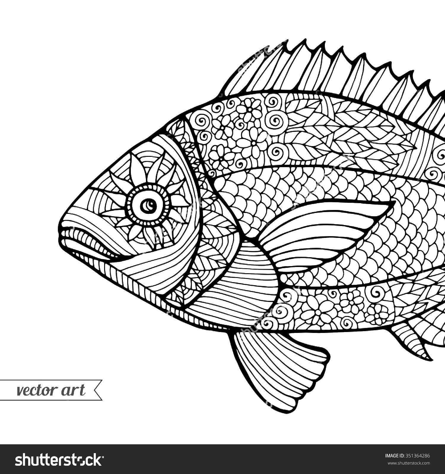 Название: Раскраска Рыба в узорах. Категория: узоры. Теги: узоры, рыбы.