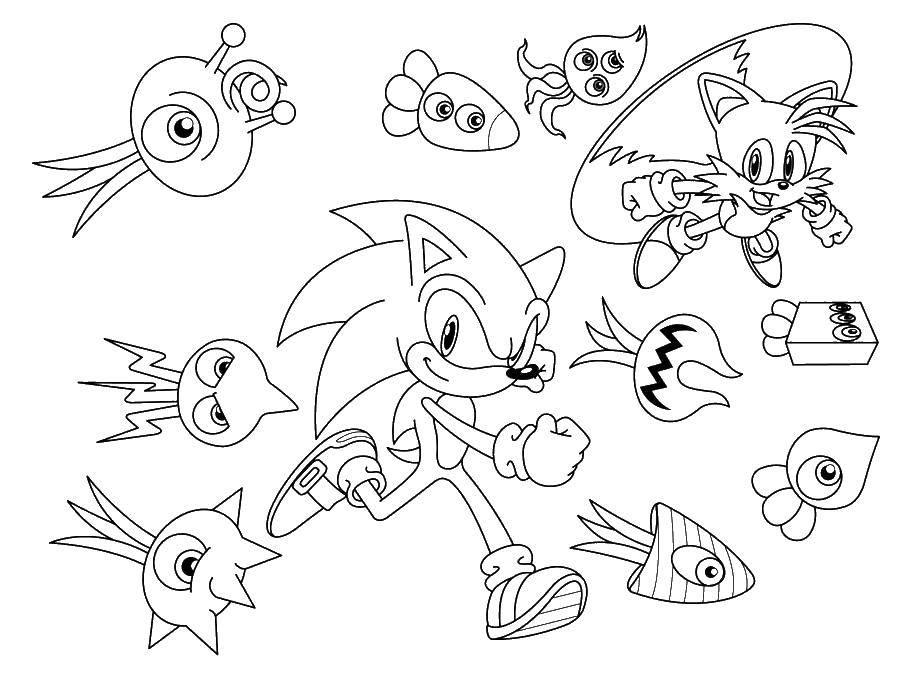 Раскраска Соник и другие персонажи. Скачать мультфильмы, соник икс, мультики.  Распечатать ,мультфильмы,