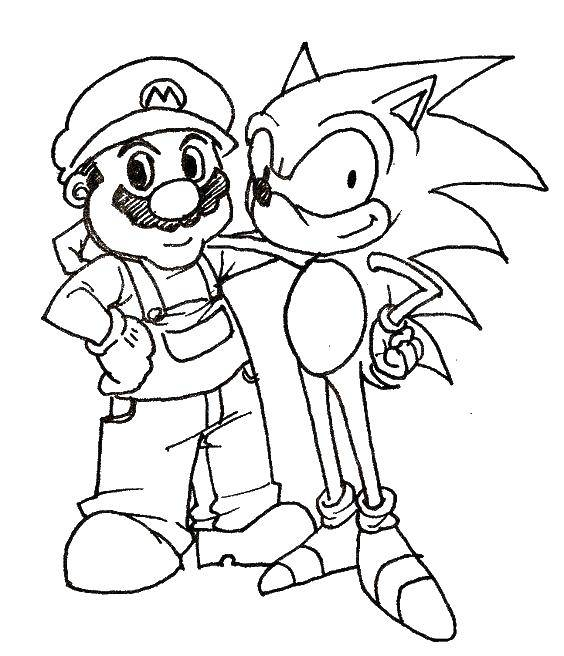 Раскраска Соник и марио Скачать Игры, Марио.  Распечатать ,Персонаж из игры,