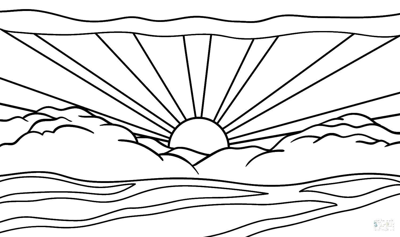 Раскраска Восход солнца Скачать ,Восход, солнца,.  Распечатать