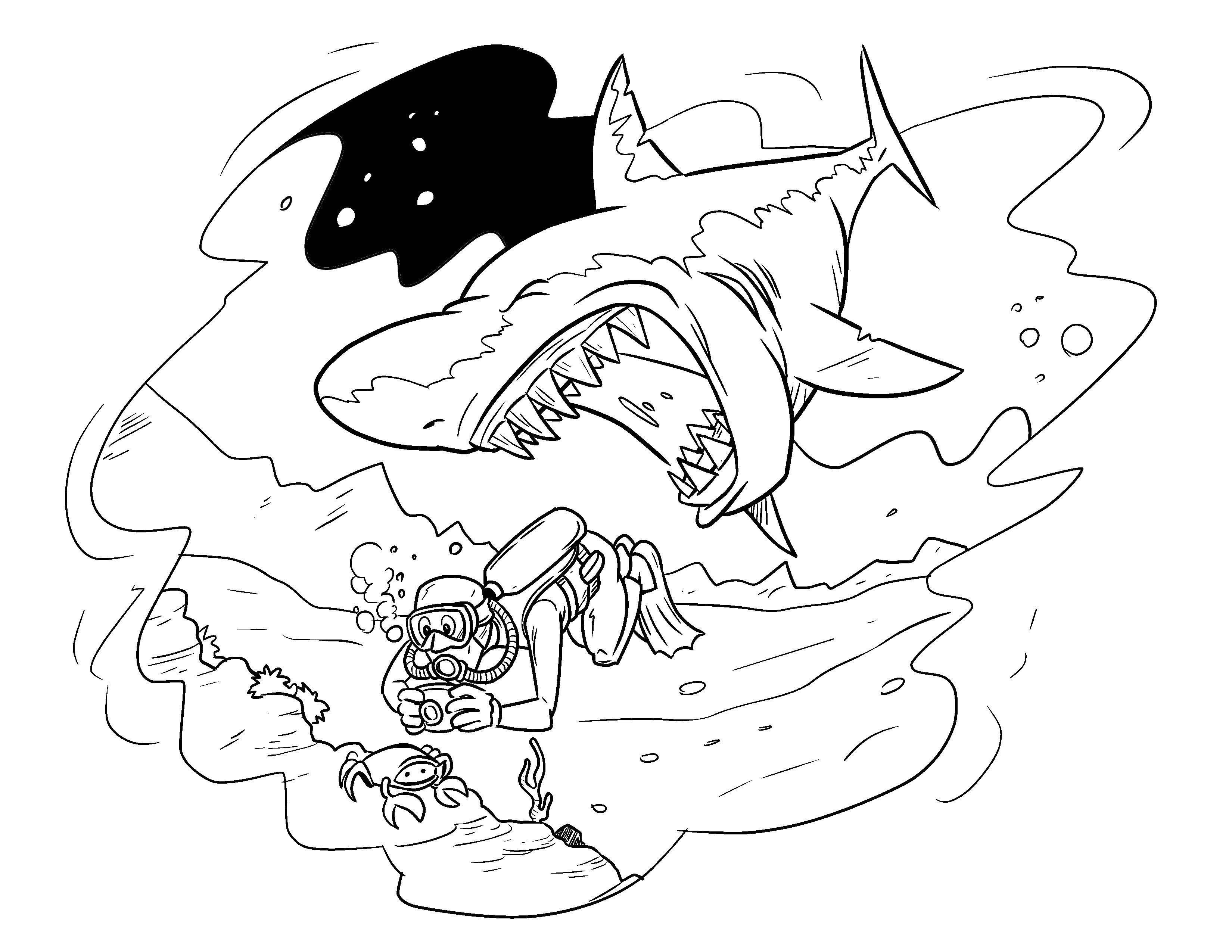 раскраски еда раскраска акула будет обедать морское