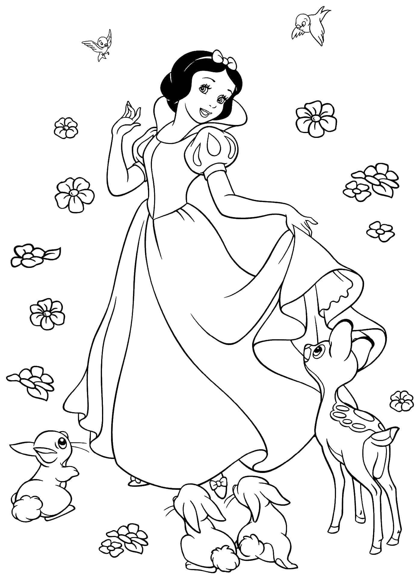 Раскраска Белоснежка и звери Скачать принцессы, мультфильмы, сказки, Белоснежка.  Распечатать ,белоснежка,