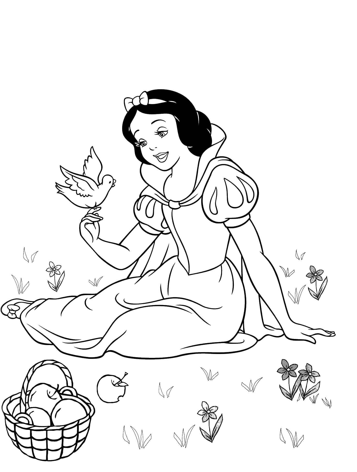 Раскраска Белоснежка с птичкой Скачать принцессы, мультфильмы, сказки, Белоснежка.  Распечатать ,белоснежка,