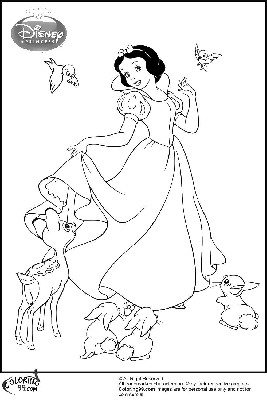 Раскраска Диснеевская белоснежка Скачать Белоснежка, принцессы, мультфильмы, сказки.  Распечатать ,белоснежка,