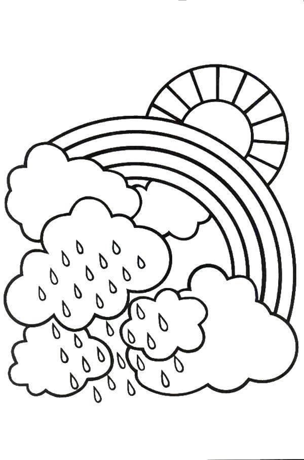 Раскраска дождь Скачать ,Уборка,.  Распечатать