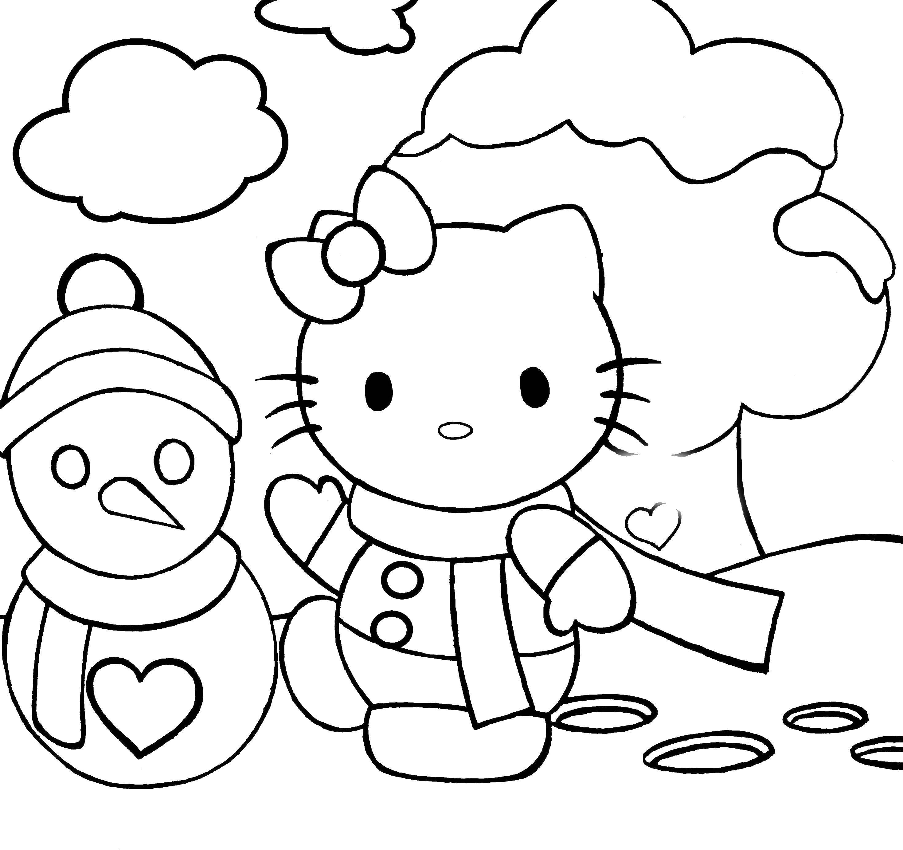 Раскраска Хэллоу китти и снеговик. Скачать хэллоу китти, снеговик, мультфильмы.  Распечатать ,Хэллоу Китти,