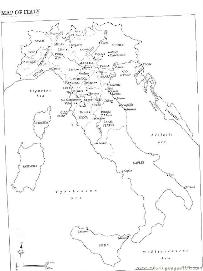 Раскраска Карта италии Скачать карты, Италия, города.  Распечатать ,Карты,