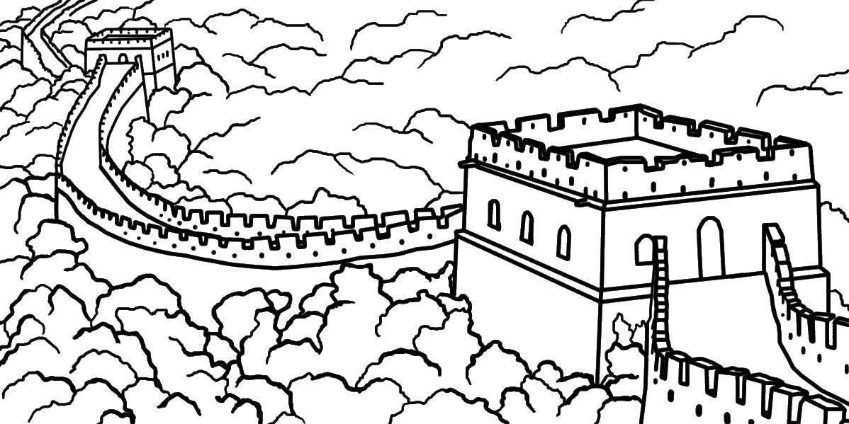 Раскраска Китайские достопримечательности Скачать достопримечательности, Китай, китайская стена.  Распечатать ,Китай,