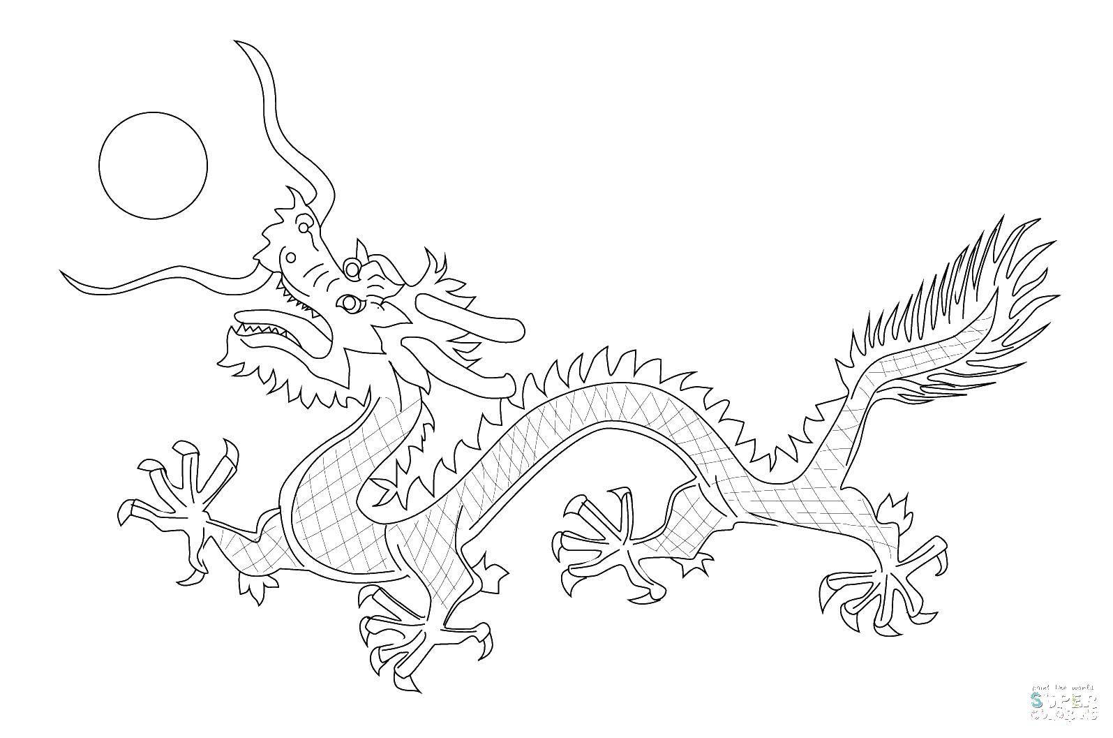 Раскраска Китайский дракон. Скачать китай, драконы, солнце.  Распечатать ,Китай,