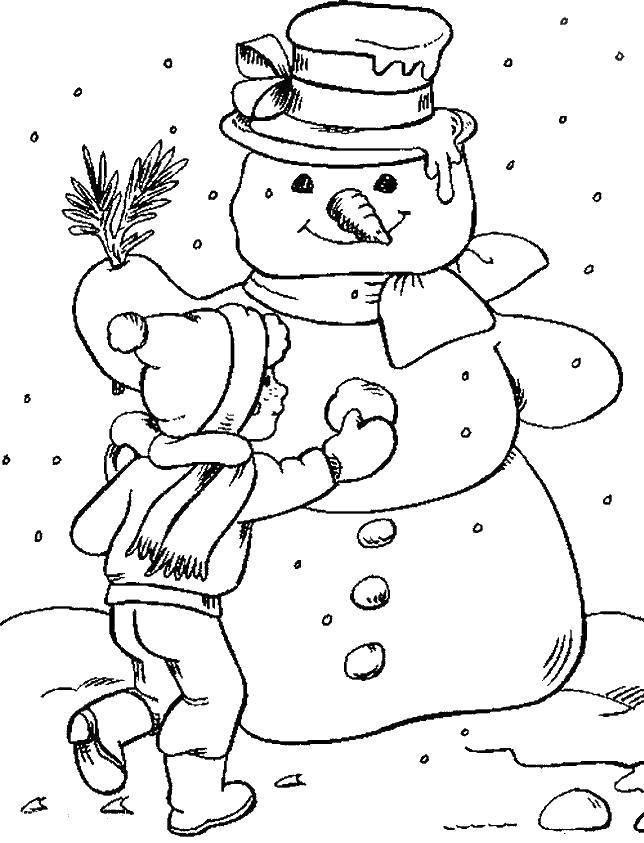 Раскраска Мальчик лепит снеговика. Скачать зима, снеговик, мальчик, снег.  Распечатать ,зима,
