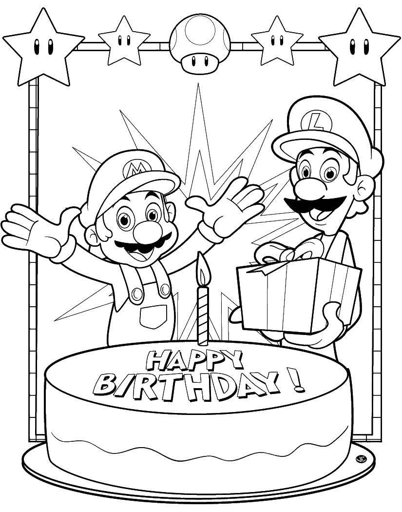 Раскраска Марио поздравляет с днем рождения. Скачать день рождения, торт, марио.  Распечатать ,день рождения,