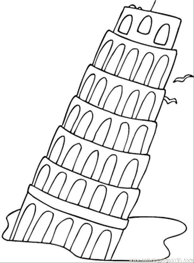 Раскраска Наклоненная пизанская башня. Скачать достопримечательности, пизанская башня.  Распечатать ,раскраски,