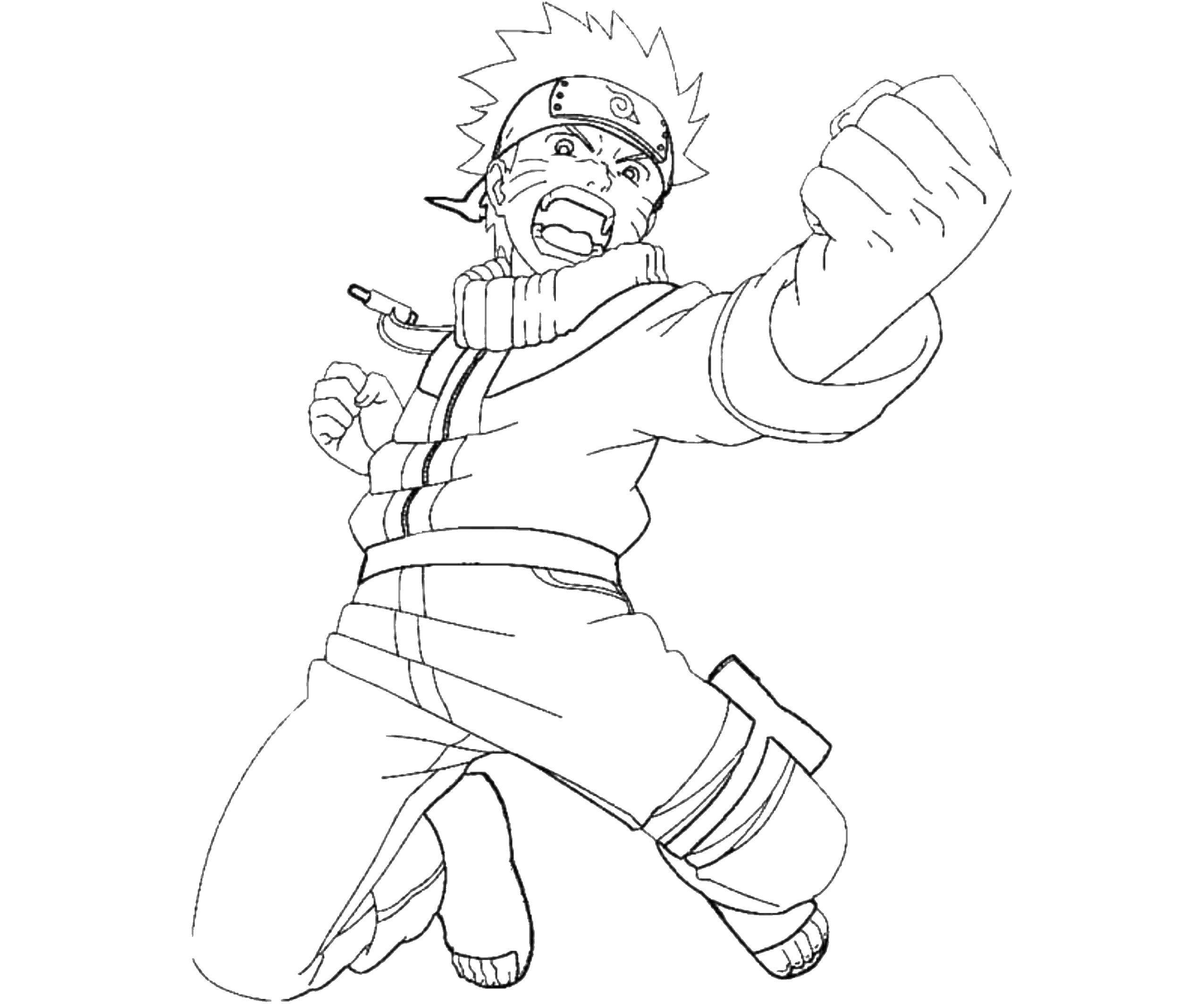 Раскраска Наруто в бою. Скачать наруто, мультфильмы, аниме.  Распечатать ,Наруто,