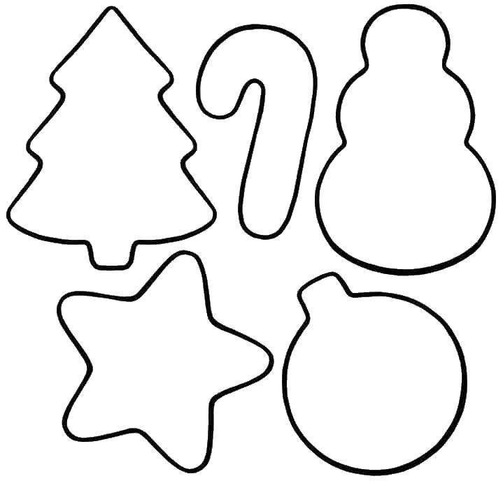 Раскраска Новогодние предметы Скачать ,фигуры, для вырезания, контуры,.  Распечатать