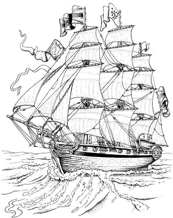 Раскраска Огромный корабль в море. Скачать пираты, корабль, море.  Распечатать ,Пираты,