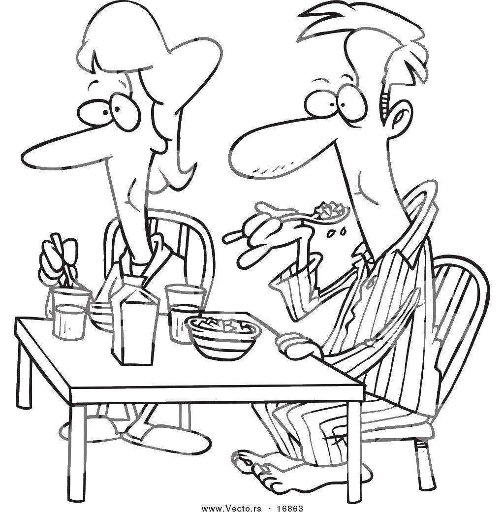 Раскраска Папа и мама едят хлопья. Скачать еда, хлопья, папа, мама.  Распечатать ,Еда,