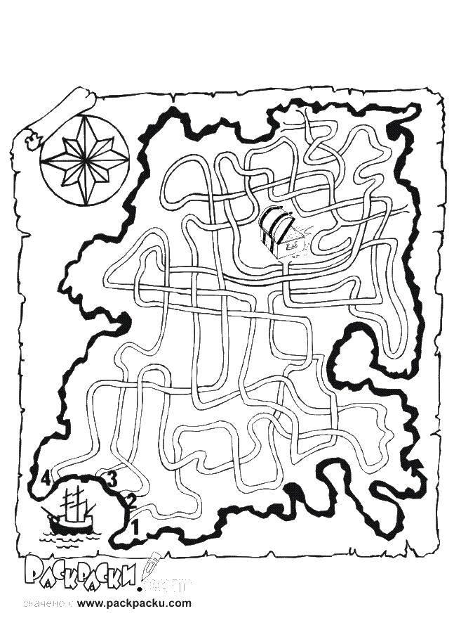 Раскраска Пиратская карта Скачать ,лабиринты, карты,.  Распечатать