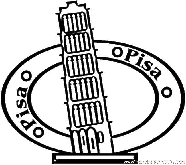 Раскраска Пизанская башня. Скачать достопримечательности, пизанская башня, Италия.  Распечатать ,раскраски,