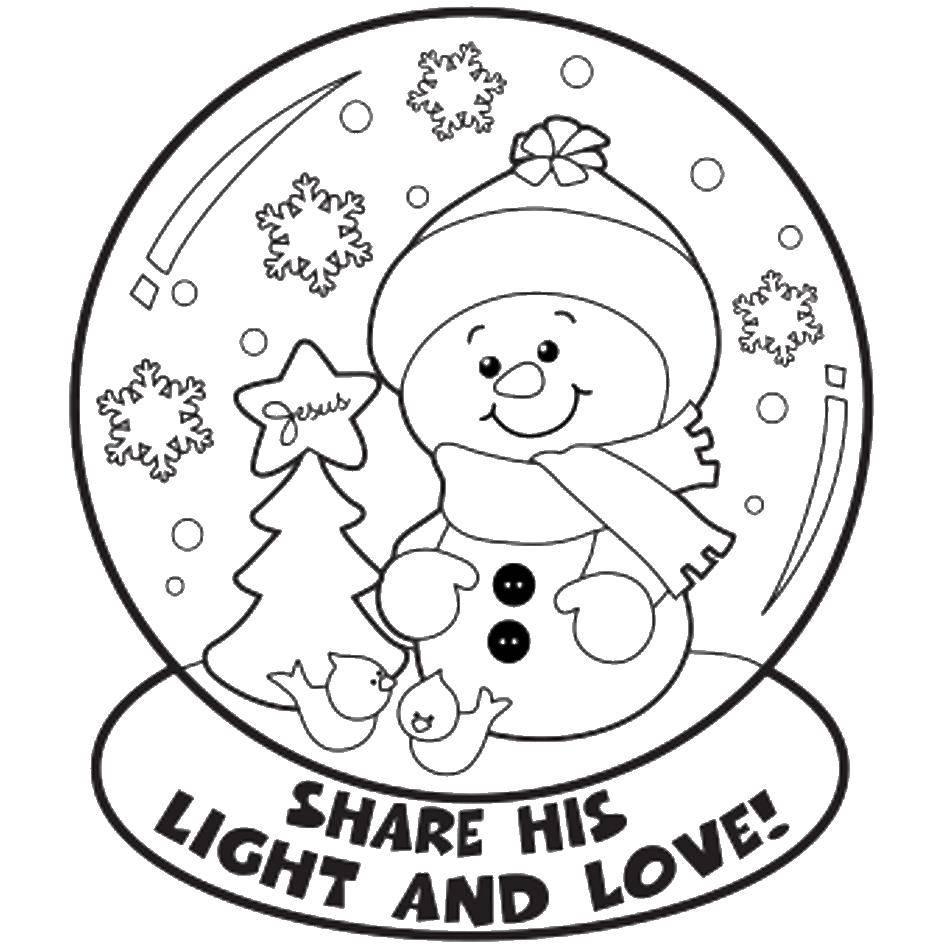 Раскраска Поделись светом и любовью Скачать снеговик, английский язык, шар.  Распечатать ,снеговик,
