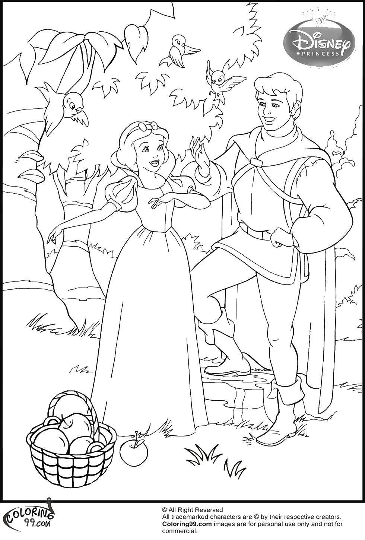 Раскраска Принц и белоснежка Скачать принцессы, мультфильмы, сказки, Белоснежка, принц.  Распечатать ,белоснежка,
