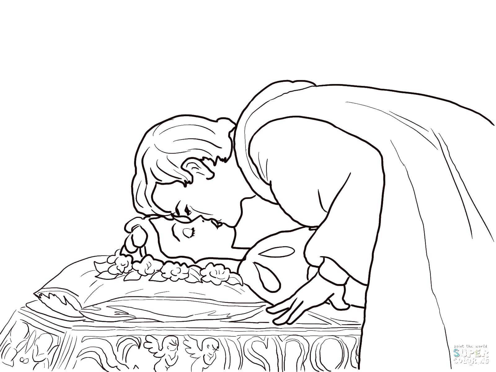 Раскраска Принц целует белоснежку Скачать принцессы, мультфильмы, сказки, Белоснежка.  Распечатать ,белоснежка,