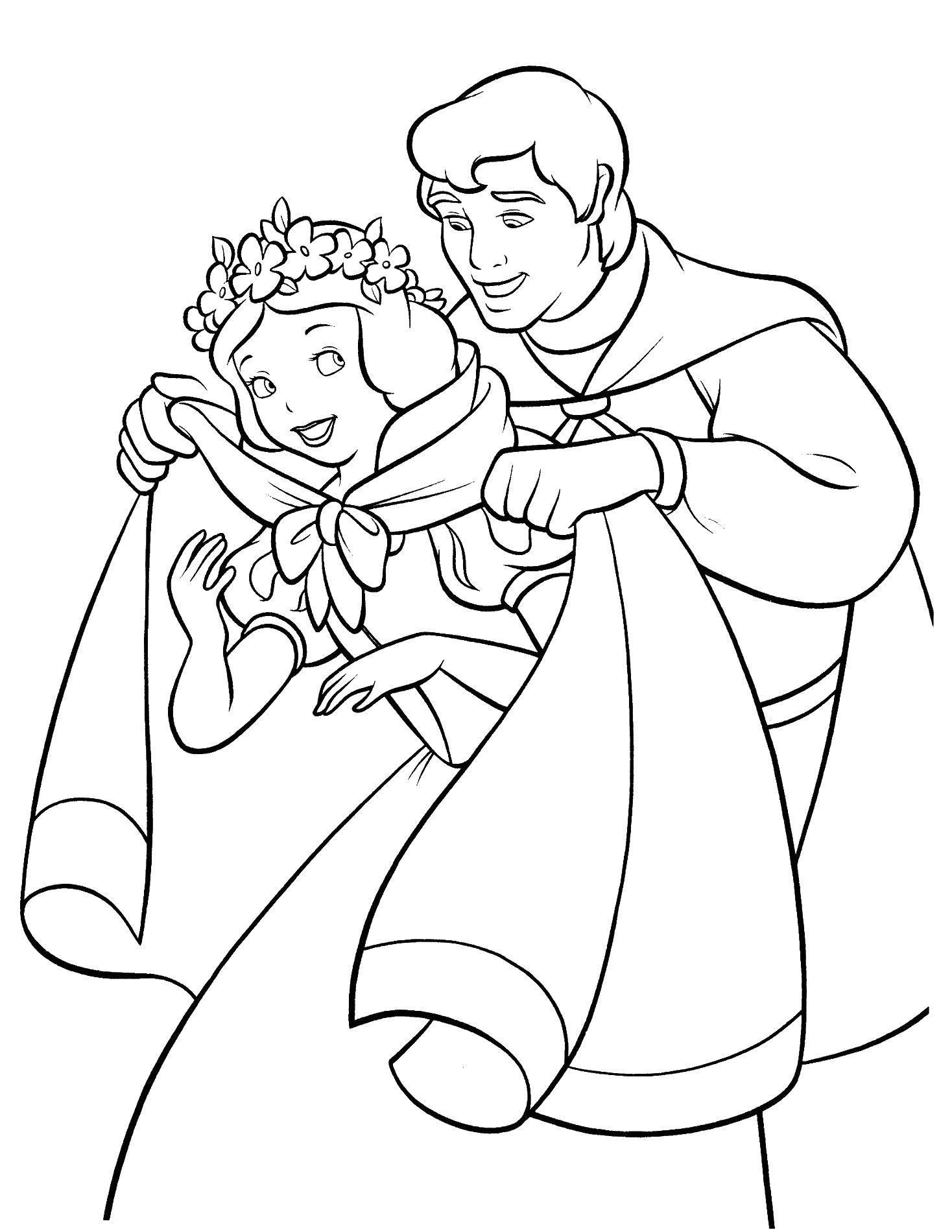 Раскраска Принц укрывает белоснежку Скачать принцессы, мультфильмы, сказки, Белоснежка.  Распечатать ,белоснежка,