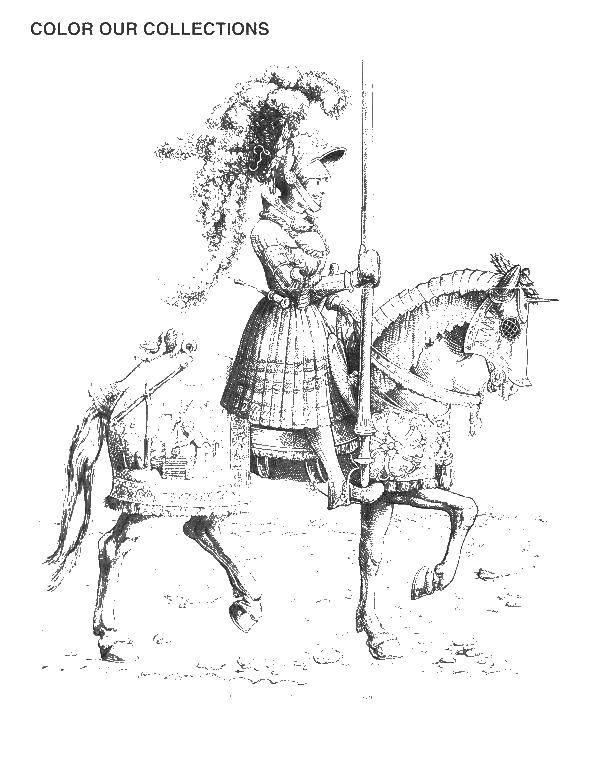 Раскраска Рыцарь в доспехах на коне Скачать рыцарь, доспехи.  Распечатать ,Рыцари,