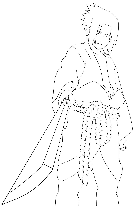 Раскраска Саске с мечом Скачать наруто, саске.  Распечатать ,Наруто,