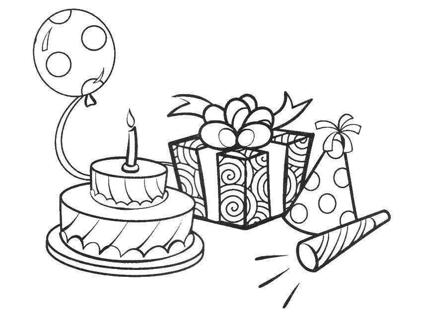Раскраска Торт с подарком Скачать день рождения, торты, подарок.  Распечатать ,день рождения,