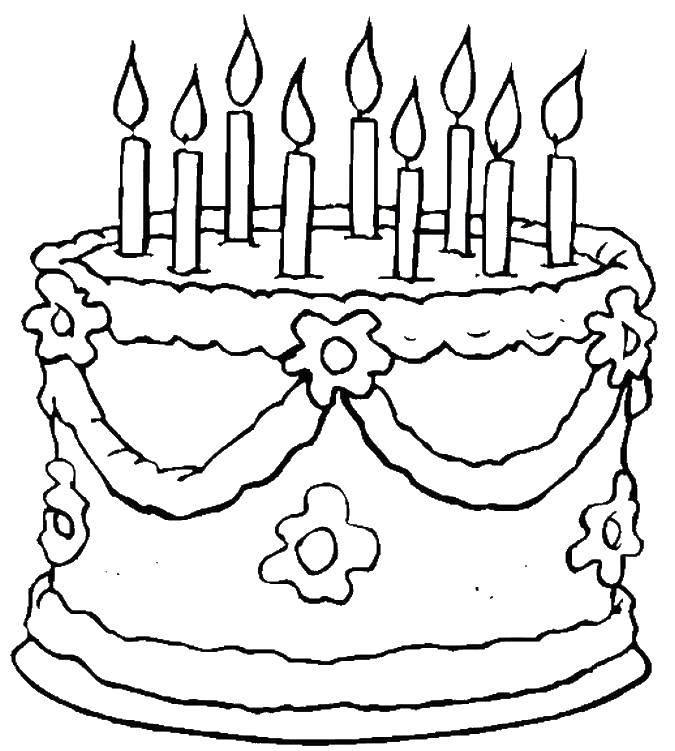 Раскраска Торт со свечками Скачать торты, сладости, свечи.  Распечатать ,торты,