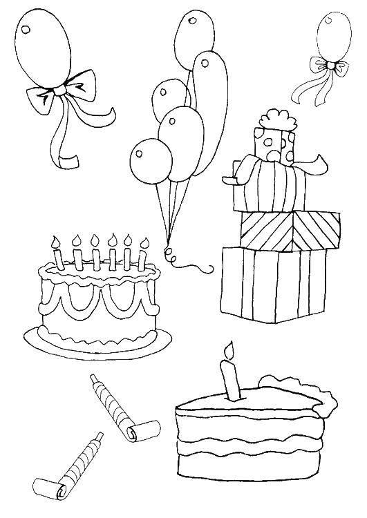 Раскраска Торты, шарики, подарки Скачать праздник, торты, шарики, подарки.  Распечатать ,раскраски,