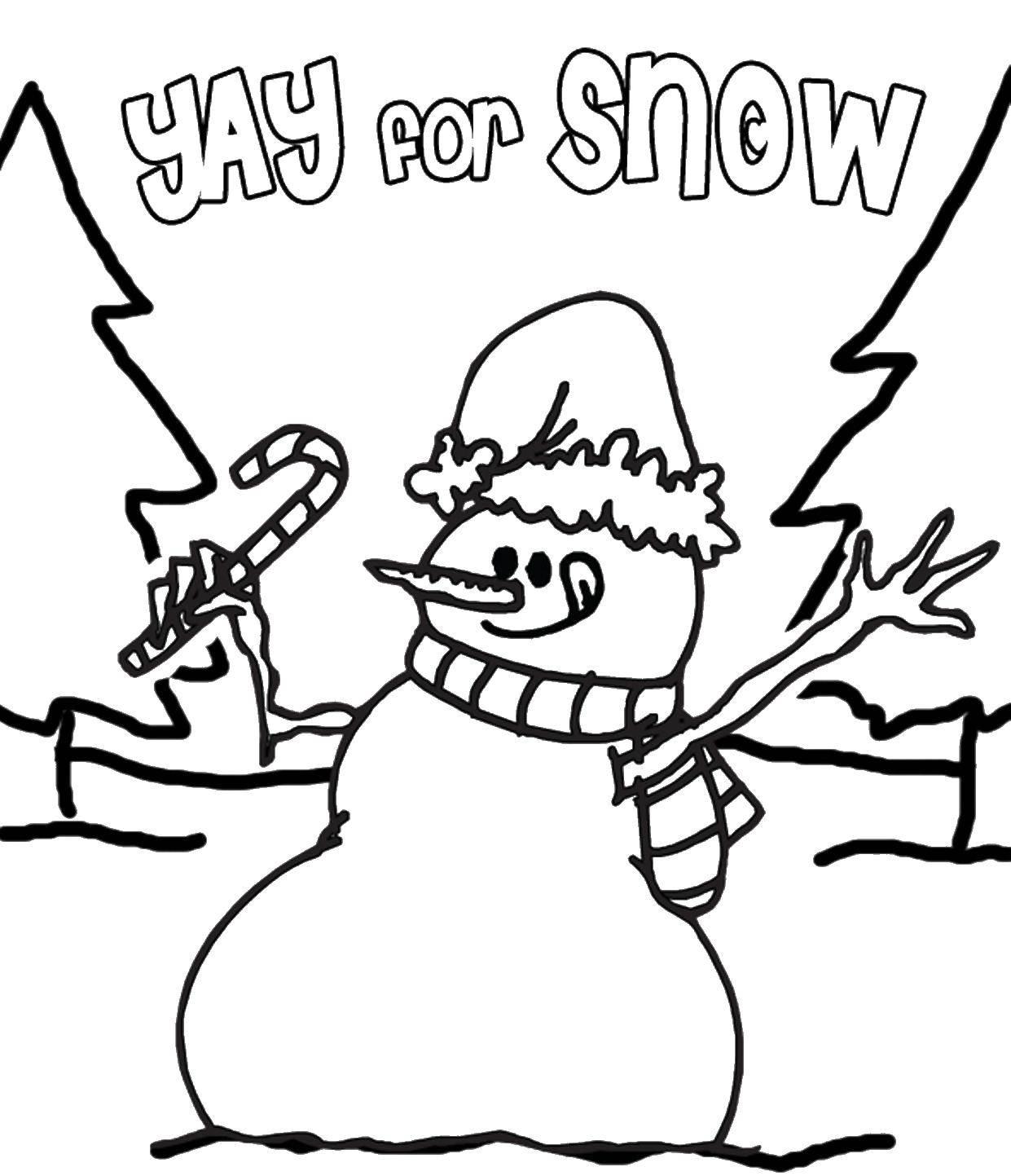 Раскраска Веселый снеговик Скачать снеговик, снег, зима.  Распечатать ,снеговик,