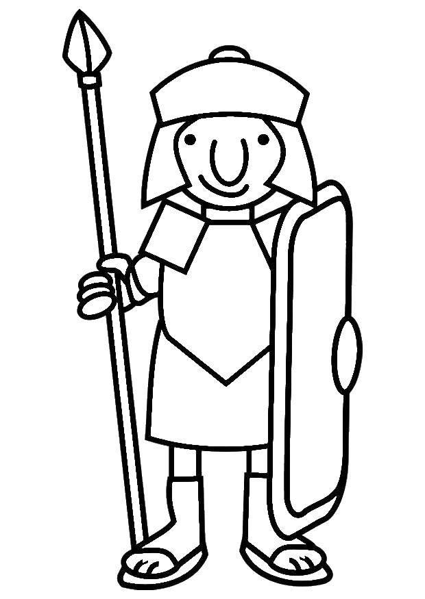 Раскраска Воин с копьем и щитом. Скачать люди, доспехи.  Распечатать ,Люди,