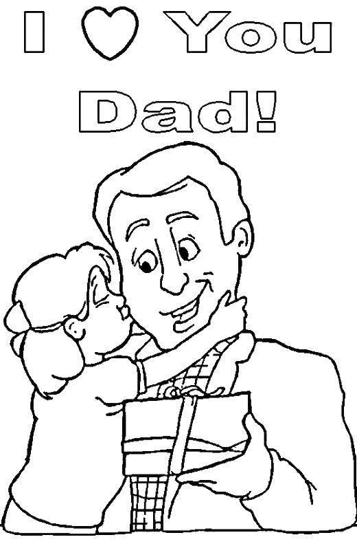 Раскраска Я люблю тебя, папа. Скачать я люблю папу, папа, дочка, семья.  Распечатать ,Я тебя люблю,