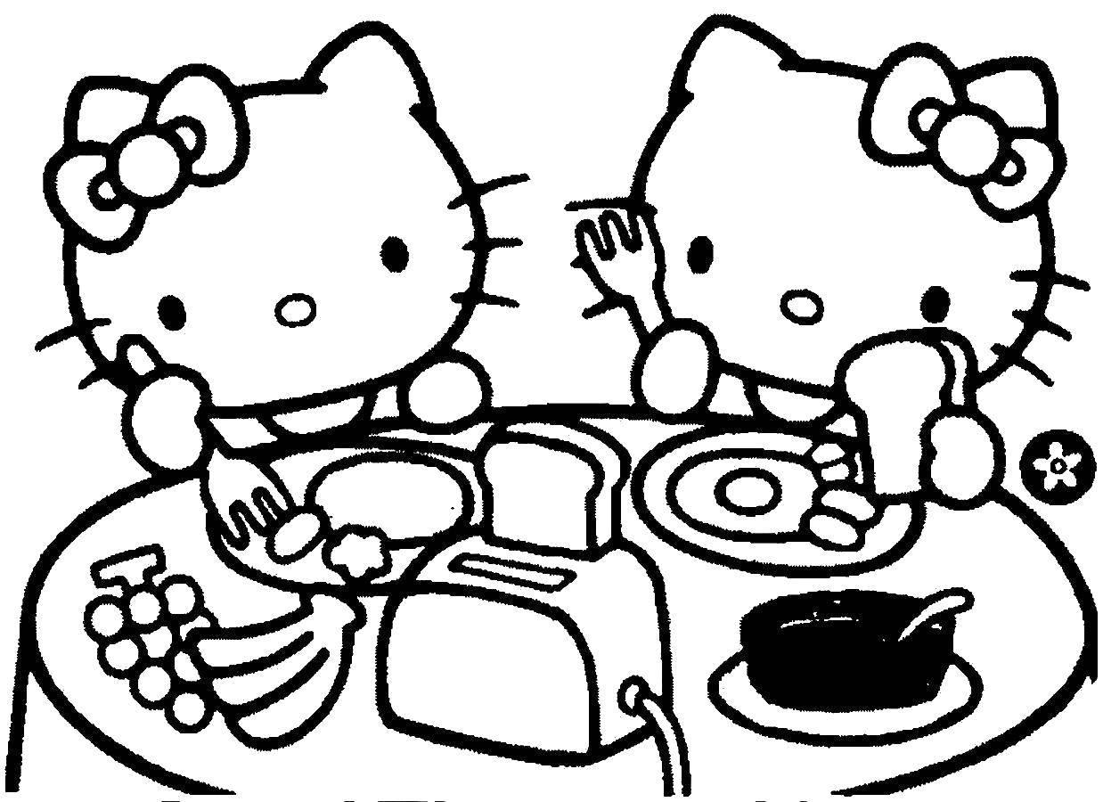 Раскраска Завтрак хэллоу китти. Скачать хэллоу китти, завтрак, еда.  Распечатать ,Хэллоу Китти,