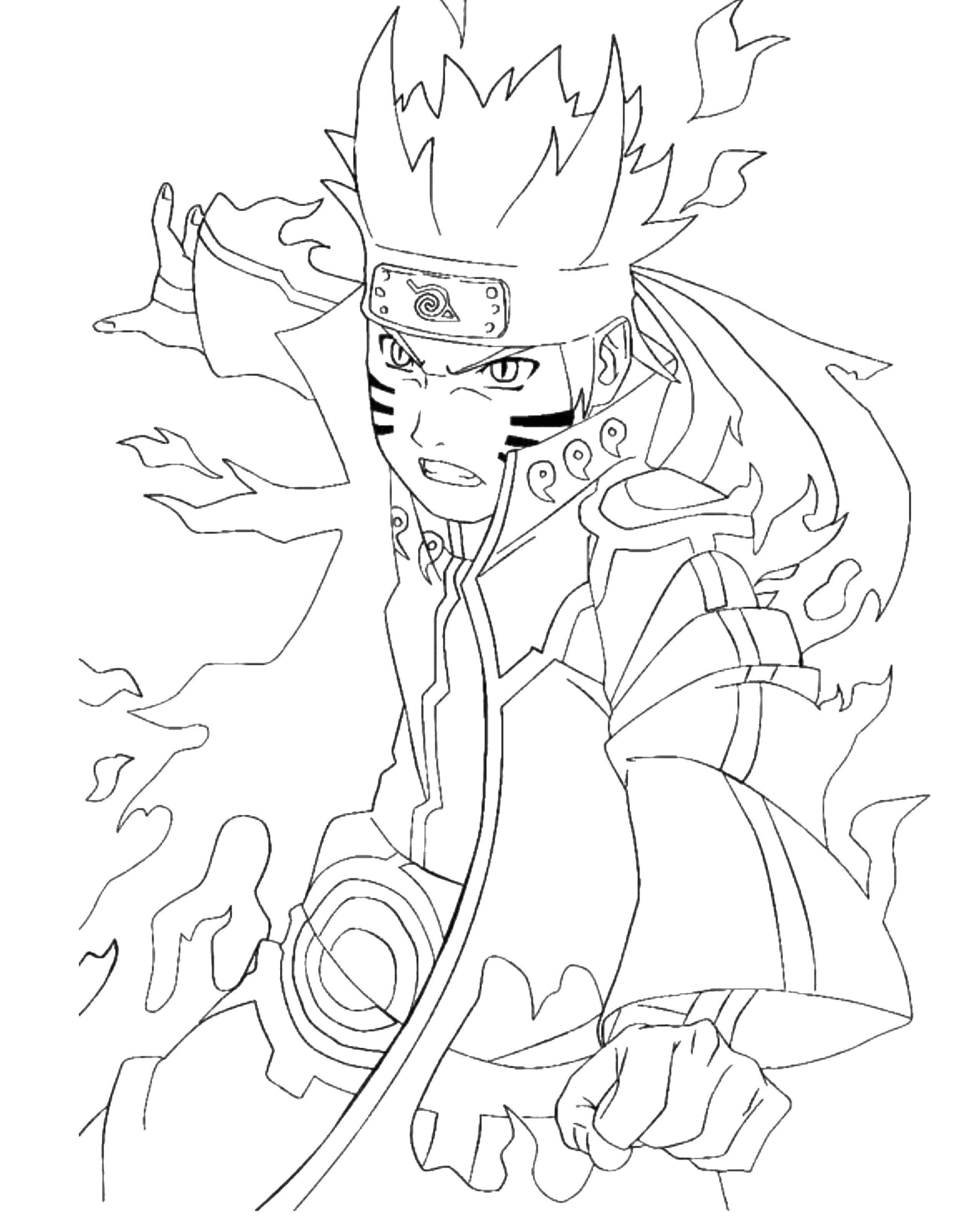 Раскраска Злой наруто Скачать аниме, наруто.  Распечатать ,Наруто,